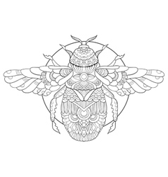 Bumblebee coloring book for adults vector