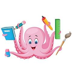 Cartoon octopus holding stationery vector