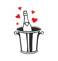 champagne bottle in ice bucket with hearts vector image