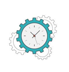 clock gear flat line icon vector image vector image