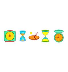 clock icon set cartoon style vector image