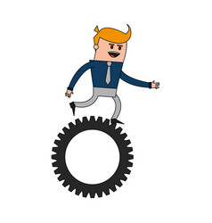 color image cartoon business man riding a gear vector image