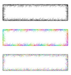 Colorful sketch banner frame design set vector