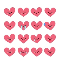 Cute heart emoticons set various emotions of the vector