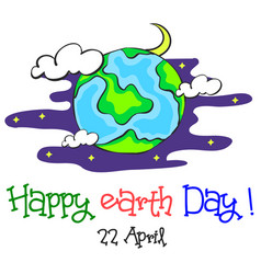 earth day cartoon world at night vector image vector image
