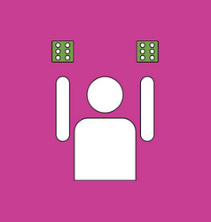 Flat icon design collection dice and man vector