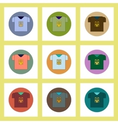 Flat icons set of ukrainian national items concept vector
