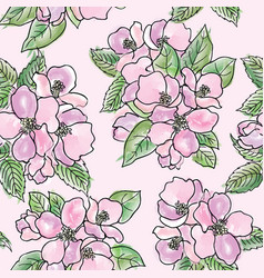 Floral seamless pattern spring flower bouquet vector