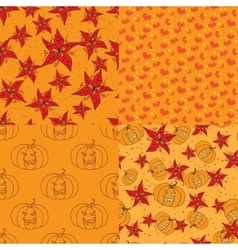 Four warm seamless pattern with floral elements vector image vector image
