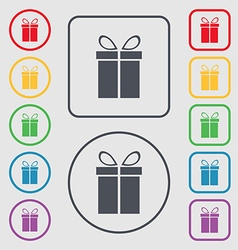 Gift box sign icon Present symbol Symbols on the vector image