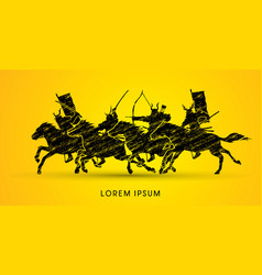 group of samurai warriors riding horses vector image
