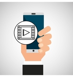 Hand phone video app media vector