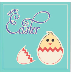 Happy easter text and chick in cracked egg vector