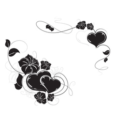 Hearts and flowers silhouettes vector image
