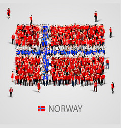 large group of people in the norway flag shape vector image vector image