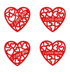 letter words red heart Valentines Day Background vector image vector image