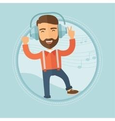 Man in headphones dancing vector