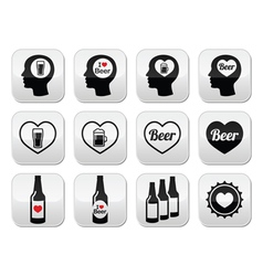 Man loving beer buttons set vector