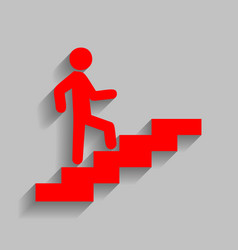 Man on stairs going up red icon with soft vector