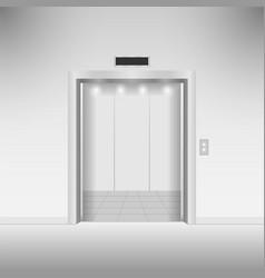 Open chrome metal elevator doors vector