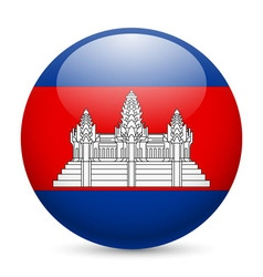 Round glossy icon of cambodia vector