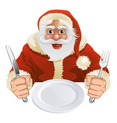 santa claus seated for christmas dinner vector image