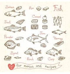 Set drawings of fish for design menus recipes and vector image