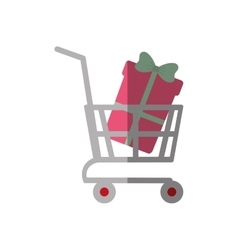 Shopping cart online boxes gift color shadow vector