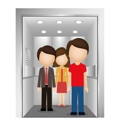 Silhouette colorful with people in elevator vector