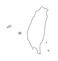 The taiwan map of black contour curves of vector