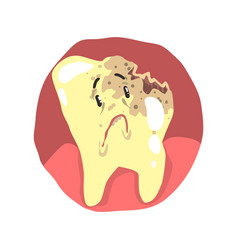 Tooth decay cartoon character with sad face vector