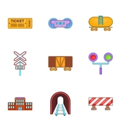 Train icons set cartoon style vector