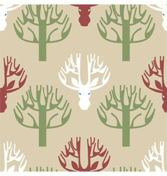 Tree and deer print vector image vector image