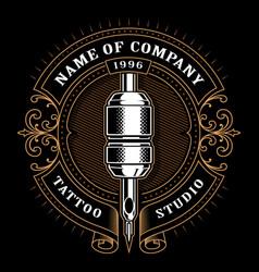Vintage tattoo studio emblem 1 for dark background vector