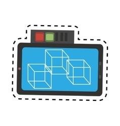 Vr smartphone online 3d model 360 design cut line vector