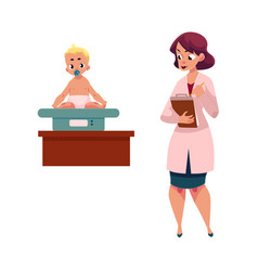 Woman doctor pediatrician measuring baby weight vector