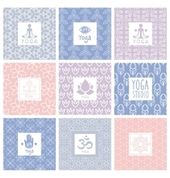 Yoga Icons on Decorative Background vector image