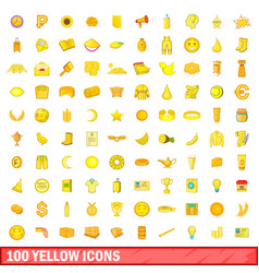 100 yellow icons set cartoon style vector
