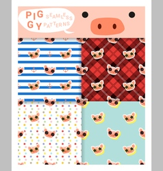 Set of animal seamless patterns with piggy 1 vector image