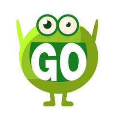 Green blob saying go cute emoji character with vector