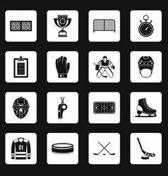 Hockey icons set squares vector