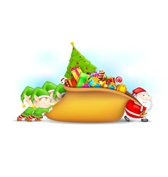 Santa claus and elf with christmas gift vector