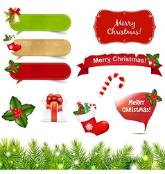 Big christmas icons set with border vector