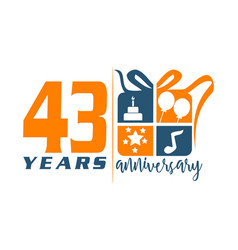 43 year gift box ribbon anniversa vector