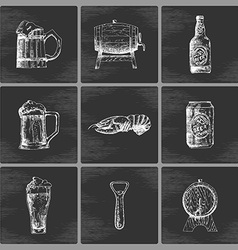 Sketch beer icons vector image