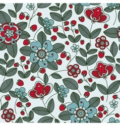Strawberry berries and flowers seamless pattern vector