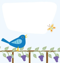 Message board with bird and grapevine vector