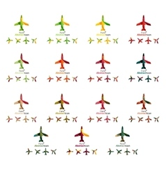 Set of color airplane logo icons vector