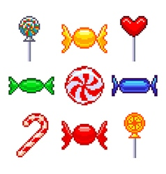 Pixel candies for games icons set vector