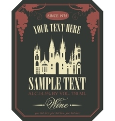Wine label with the old town vector